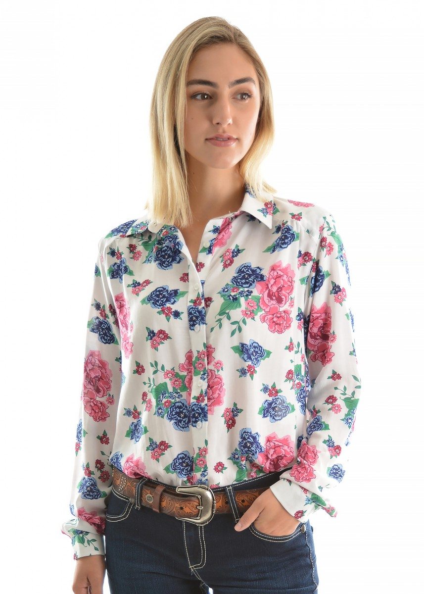 WOMENS ROSE PRINT L/S SHIRT