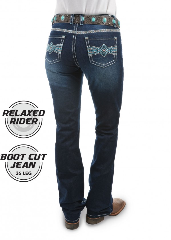 WOMENS INDIANA RELAXED RIDER JEAN - 36 LEG