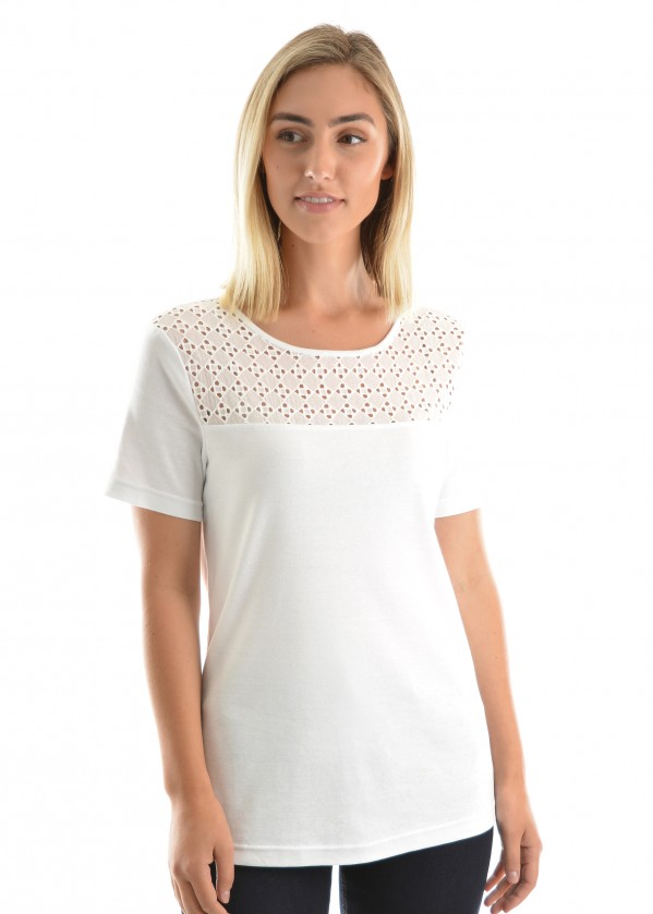 WOMENS BRODERIE YOKE S/S TOP