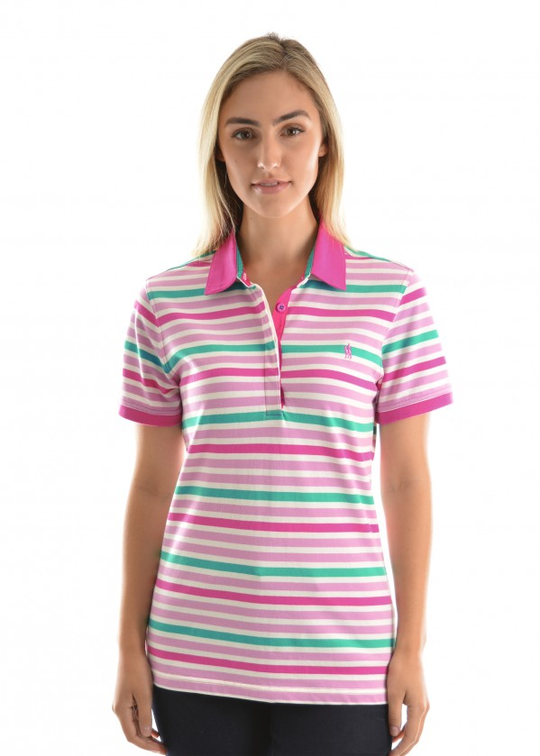 WOMENS AVA STRIPE S/S POLO
