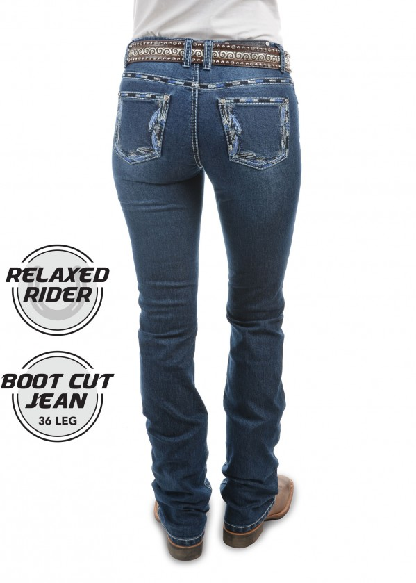 WOMENS LOUISIANA RELAXED RIDER JEAN - 36 LEG