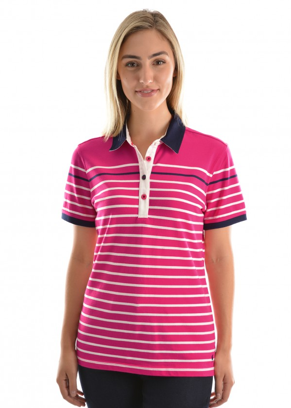 WOMENS LEONIE STRIPE S/S POLO