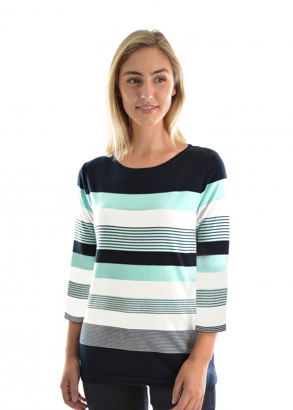 WOMENS SUE STRIPE 3/4 SLEEVE TOP