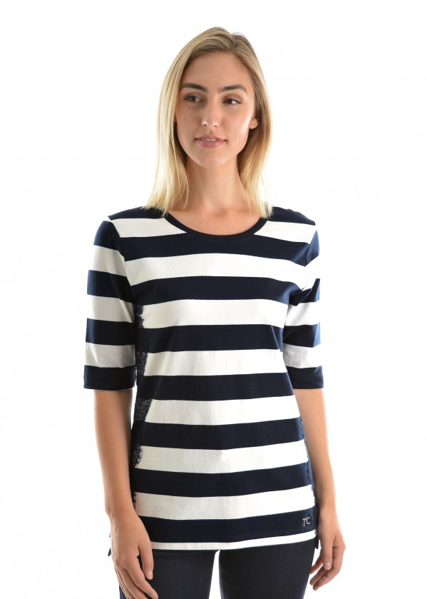 WOMENS LACE-ON-STRIPE ELBOW SLEEVE TOP