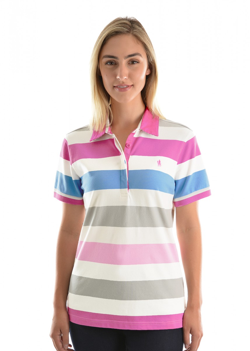 WOMENS HARPER STRIPE S/S POLO