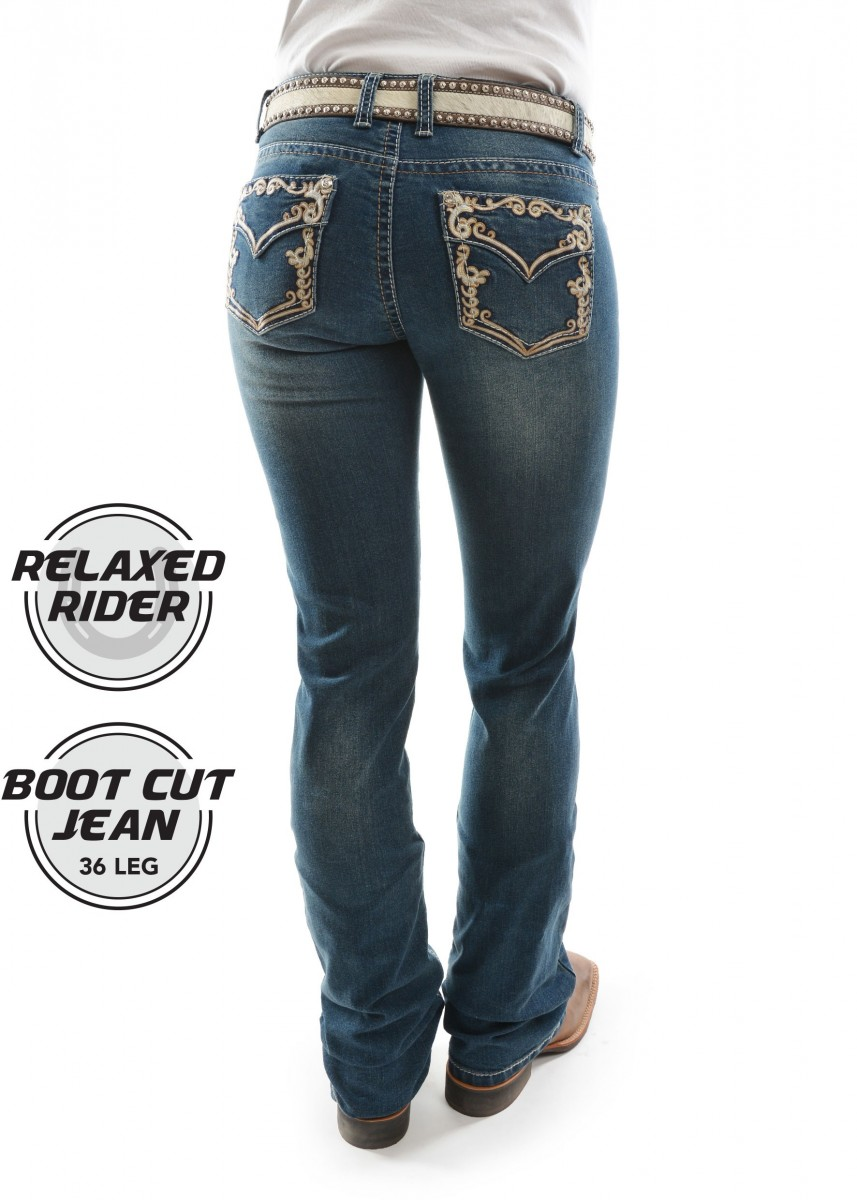 WOMENS CAROLINA RELAXED RIDER JEAN - 36 LEG