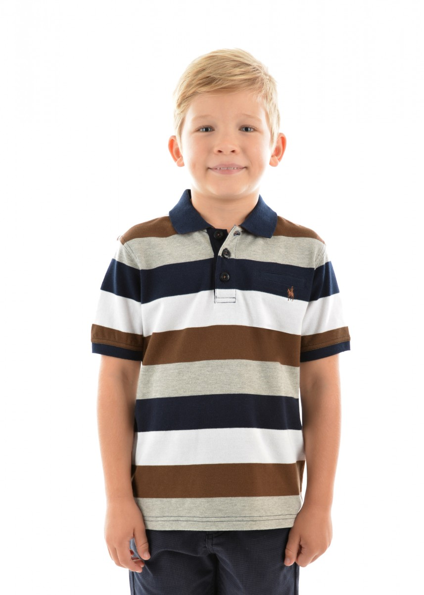 BOYS HOPETOWN STRIPE 1-PKT S/S POLO