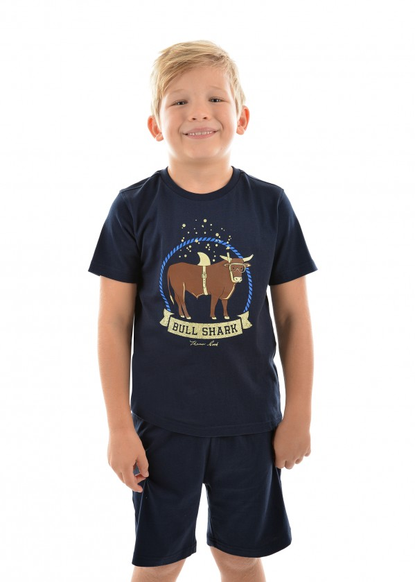 BOYS BULL SHARK GLOW IN-THE-DARK PJ S