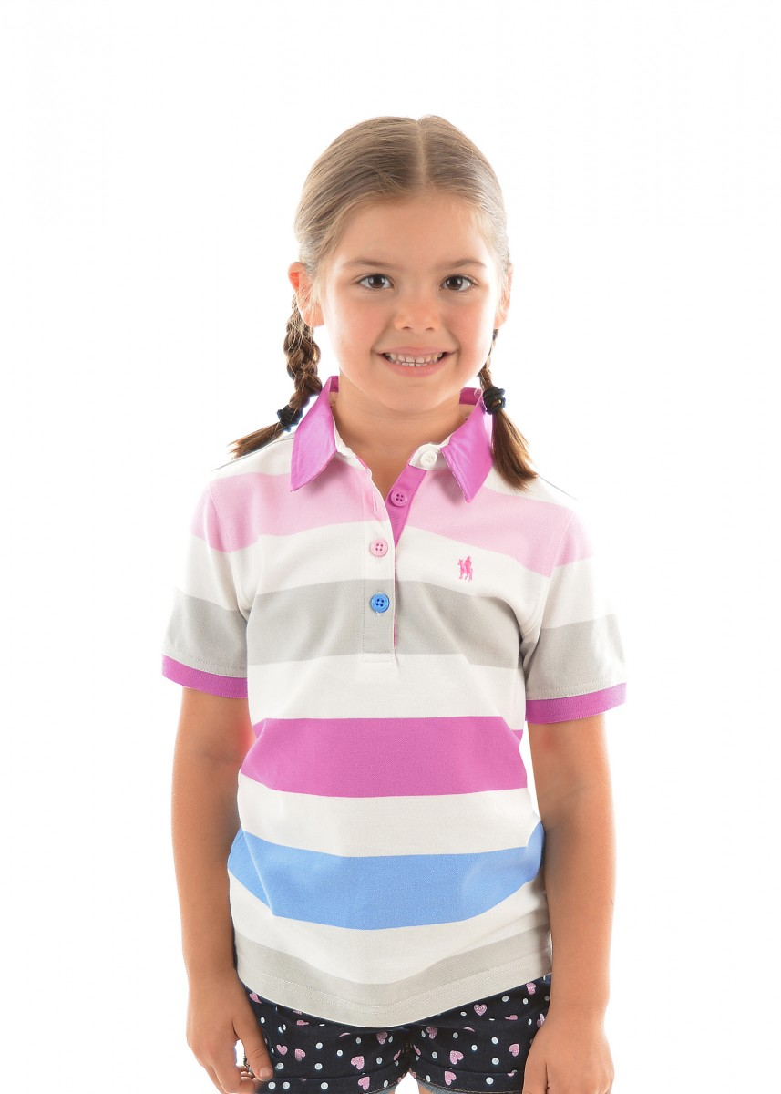 GIRLS HARPER STRIPE S/S POLO