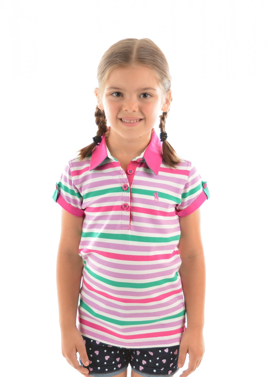 GIRLS AVA STRIPE S/S POLO