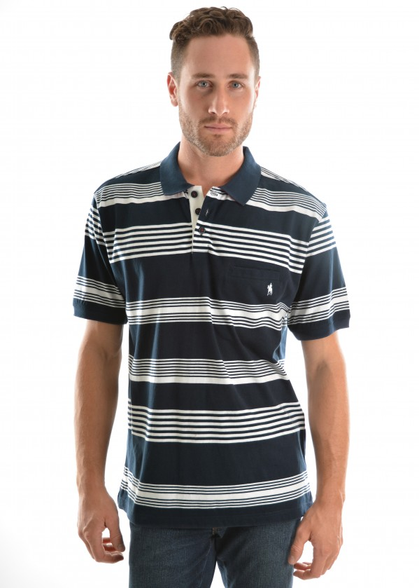 MENS ALBERT STRIPE 1-PKT S/S POLO