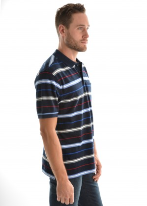 MENS ARMSTRONG STRIPE 1PKT S/S POLO