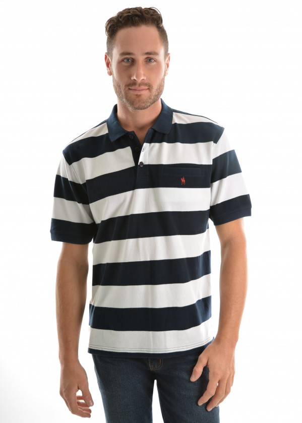 MENS BATEMAN STRIPE 1-PKT S/S POLO