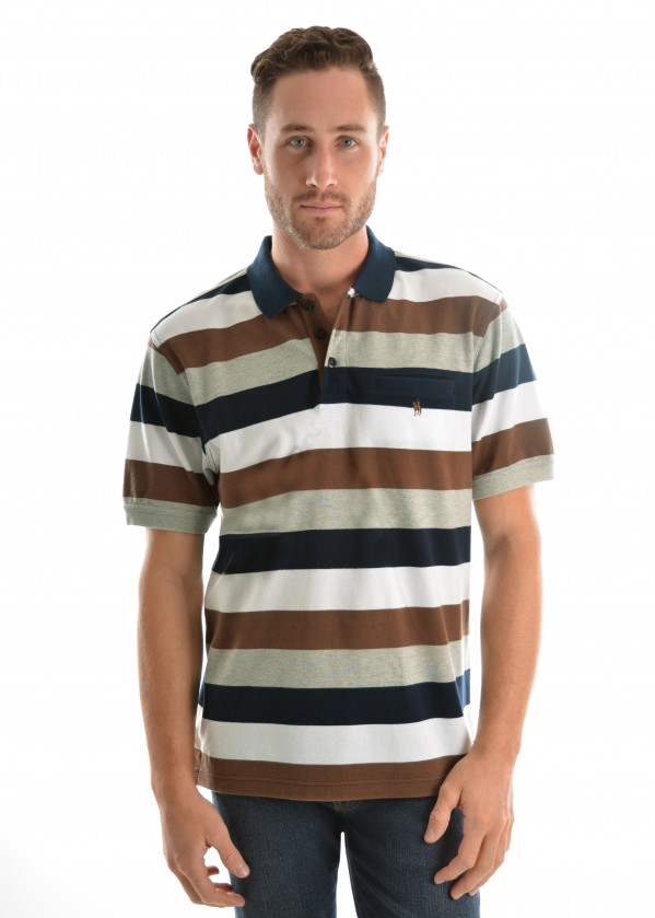 MENS HOPETOWN STRIPE 1PKT S/S POLO