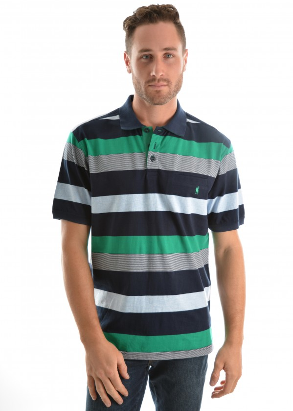 MENS LEWIS STRIPE 1-PKT S/S POLO