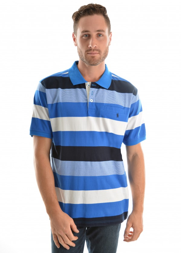 MENS MOORE STRIPE 1-PKT S/S POLO