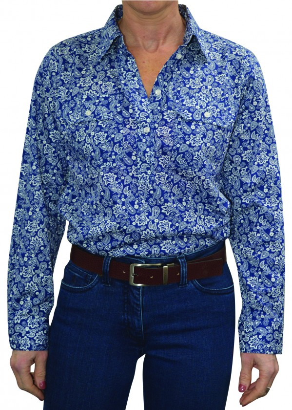 WOMENS HALF PLACKET 2-POCKET PRINT L/S SHIRT