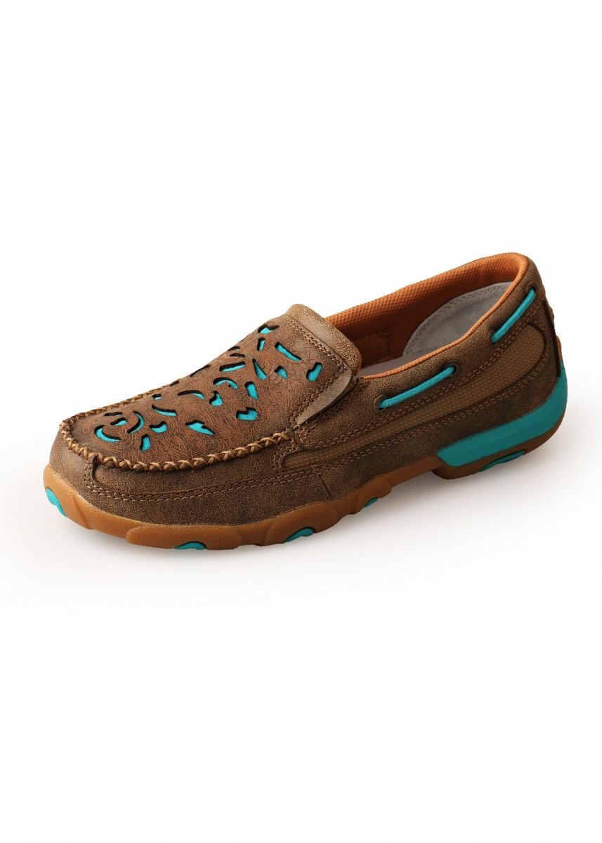 WOMENS TURQUOISE CUT OUT MOCS SLIP ON