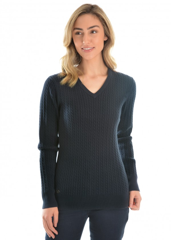 WMNS V-NECK FINE CABLE JUMPER