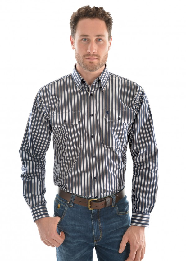 MENS BATANDRA STRIPE 2-POCKET L/S SHIRT