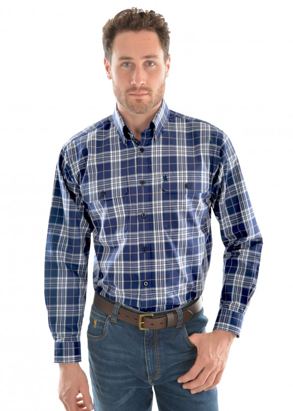 MENS CROSS THERMAL CHECK 2-POCKET L/S SHIRT