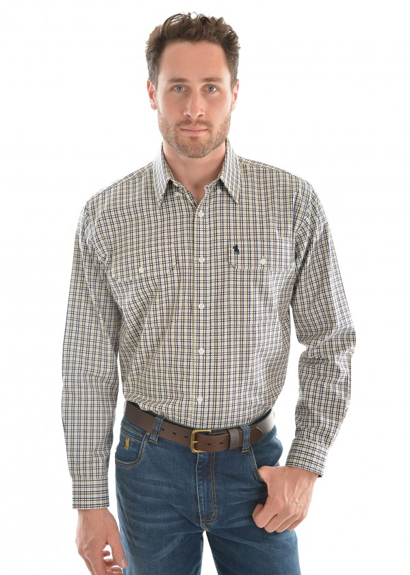 MENS DOBBS CHECK 2-POCKET L/S SHIRT