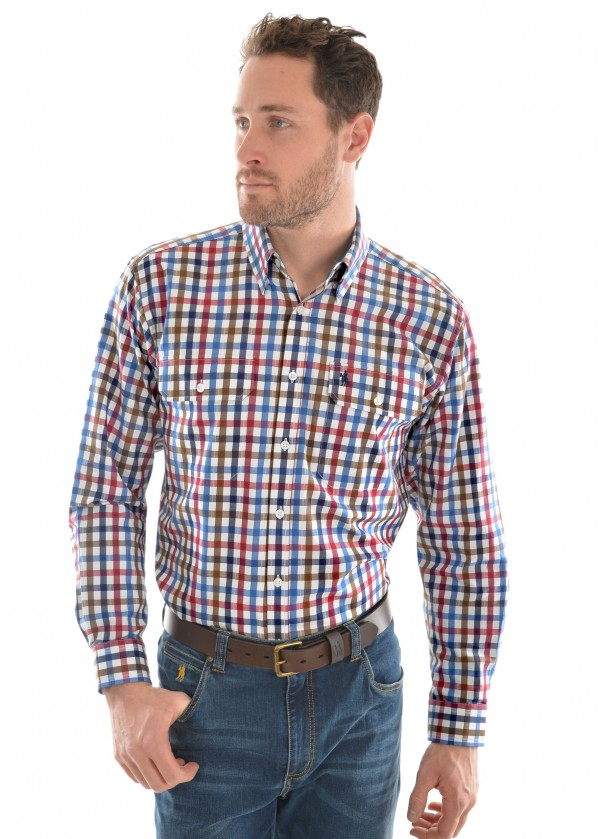 MENS EVANS CHECK 2-POCKET L/S SHIRT