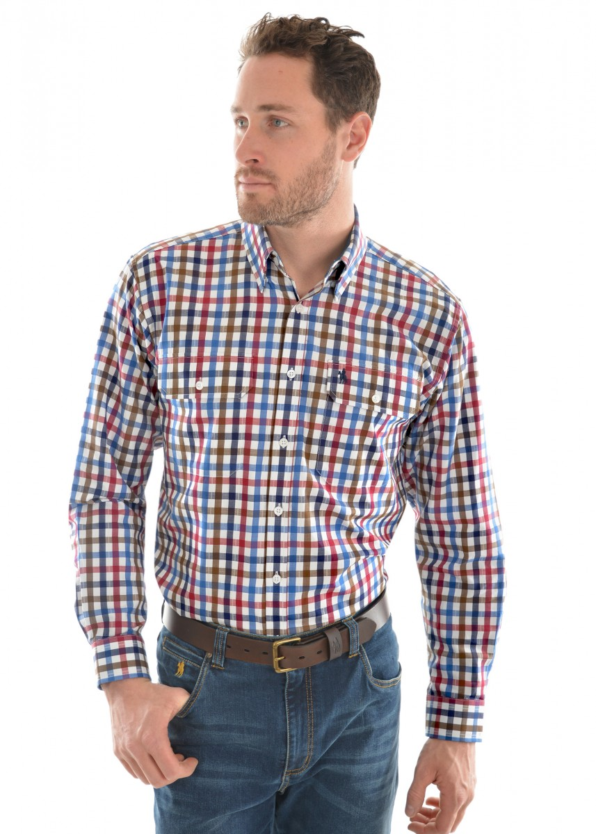 MENS EVANS CHECK 2-PKT L/S SHIRT