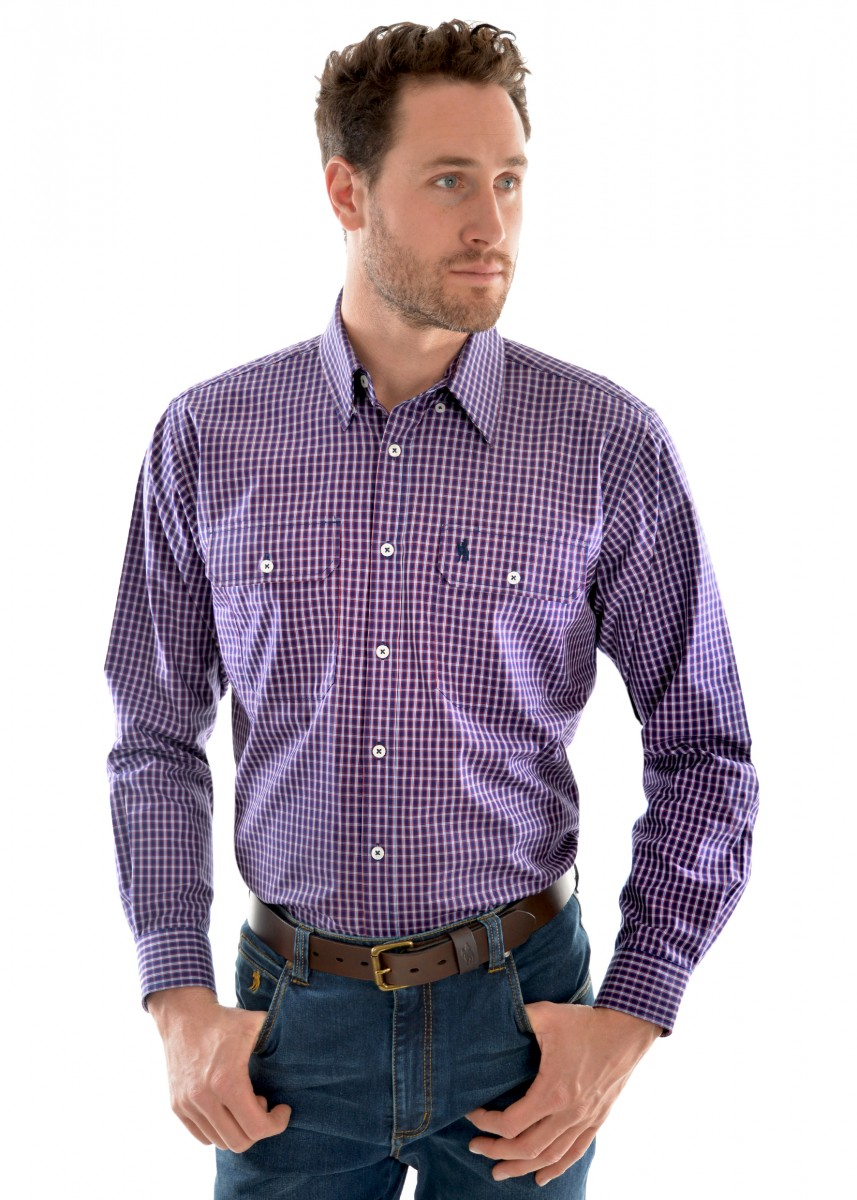 MENS HENLEY CHECK 2-PKT L/S SHIRT