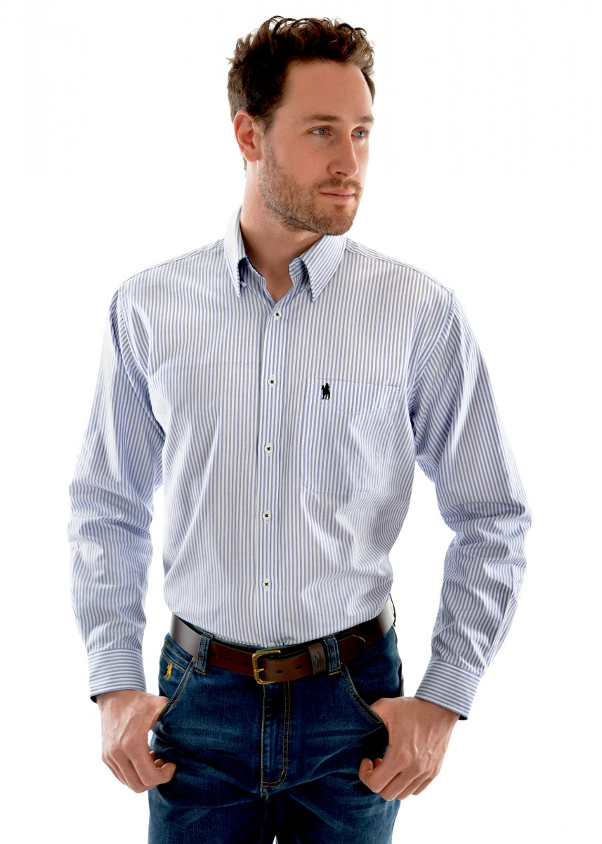 MENS ALBURY STRIPE 1-POCKET L/S SHIRT
