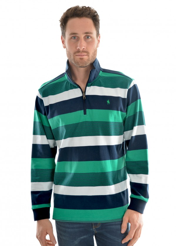 MENS ROSEBANK STRIPE  1/4 ZIP RUGBY