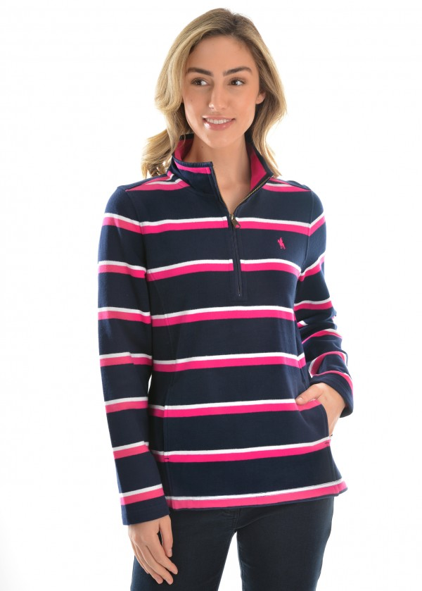 WOMENS BATHURST STRIPE 1/4 ZIP RUGBY