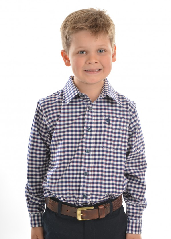 BOYS MASON CHECK 1-POCKET L/S SHIRT