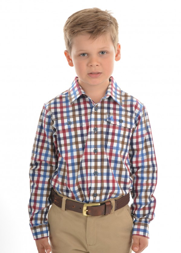 BOYS EVANS CHECK 2-POCKET L/S SHIRT