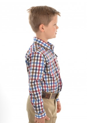 BOYS EVANS CHECK 2-PKT L/S SHIRT