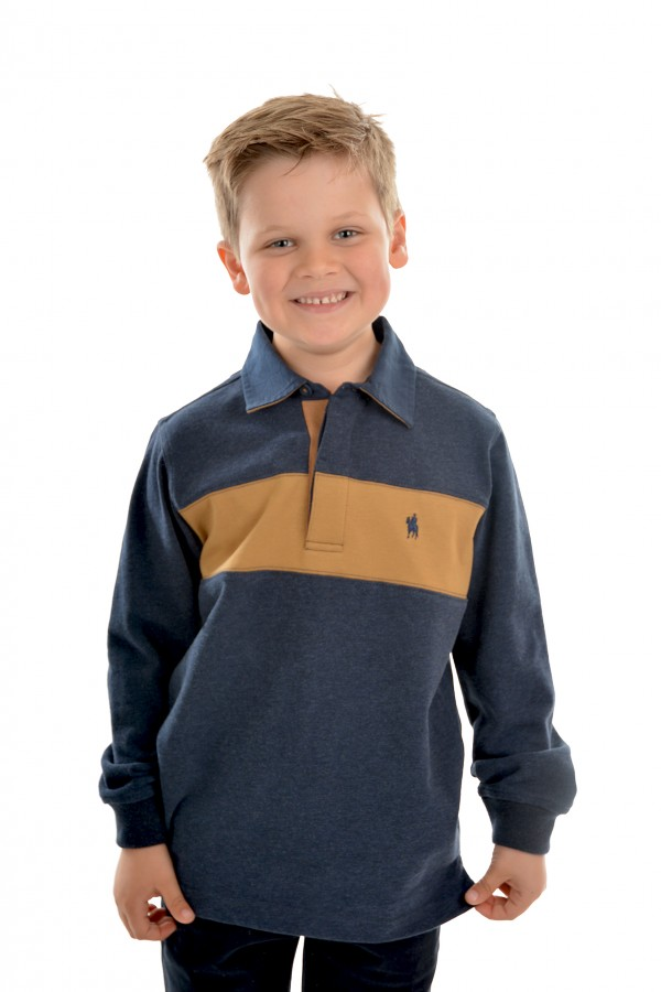 BOYS SHAW PANEL STRIPE RUGBY