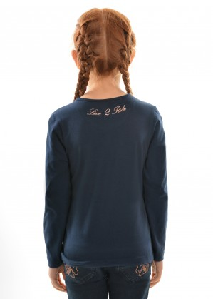 GIRLS ROSE GOLD HORSE L/S TOP