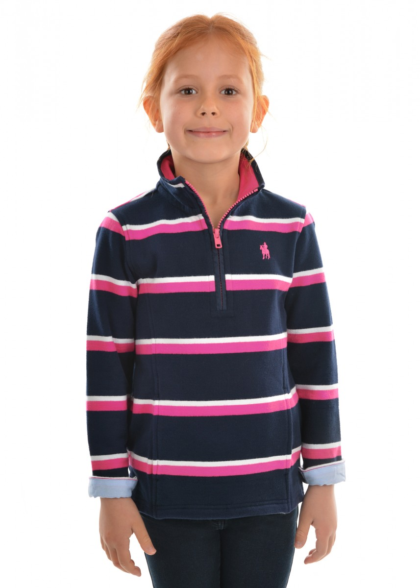 GIRLS BATHURST STRIPE 1/4 ZIP RUGBY