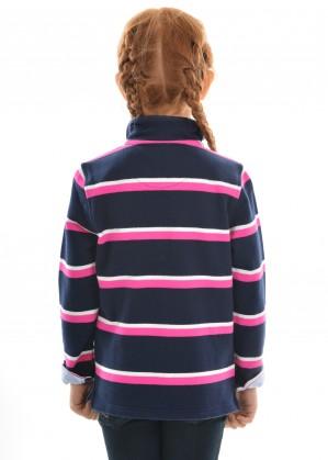 GIRLS BATHURST STRIPE 1/4 ZIP RUGBY