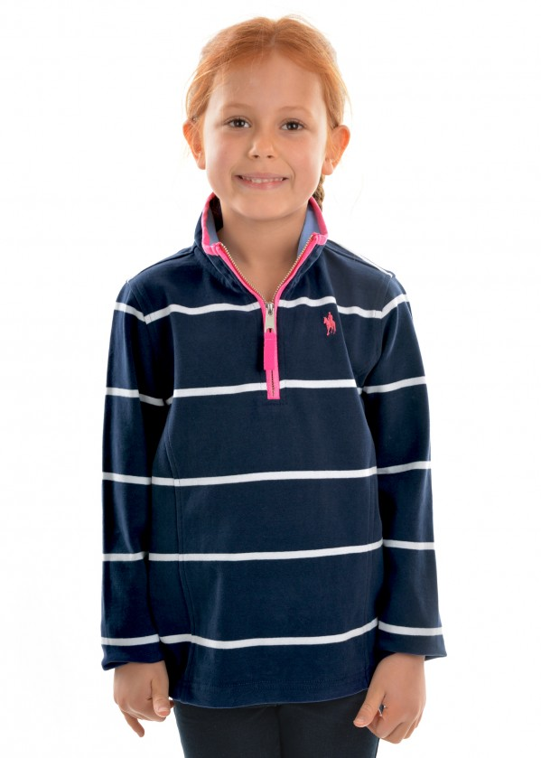 GIRLS SINGLETON STRIPE 1/4 ZIP RUGBY