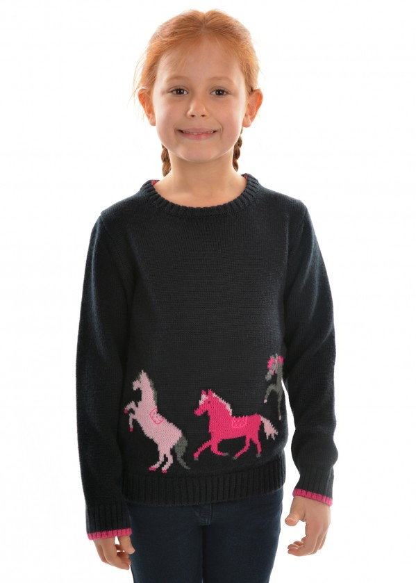 GIRLS MIA HORSE KNIT JUMPER