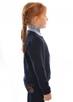 GIRLS FINE CABLE CARDIGAN