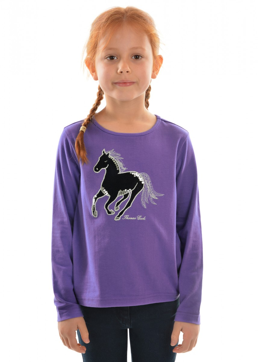GIRLS VELVET HORSE L/S TOP