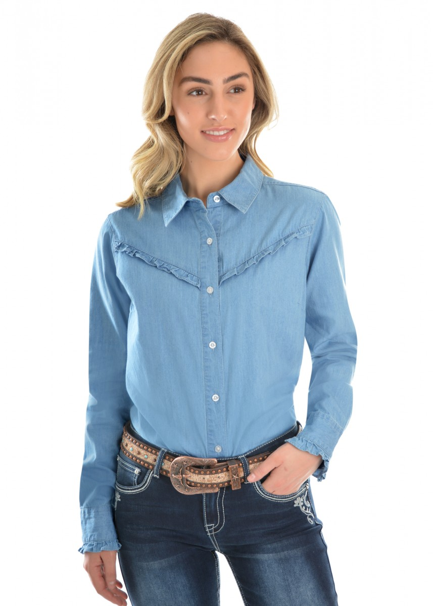 WOMENS DARCY CHAMBRAY FRILL L/S SHIRT
