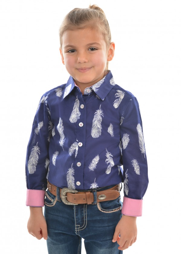 GIRLS FEATHER PRINT L/S SHIRT