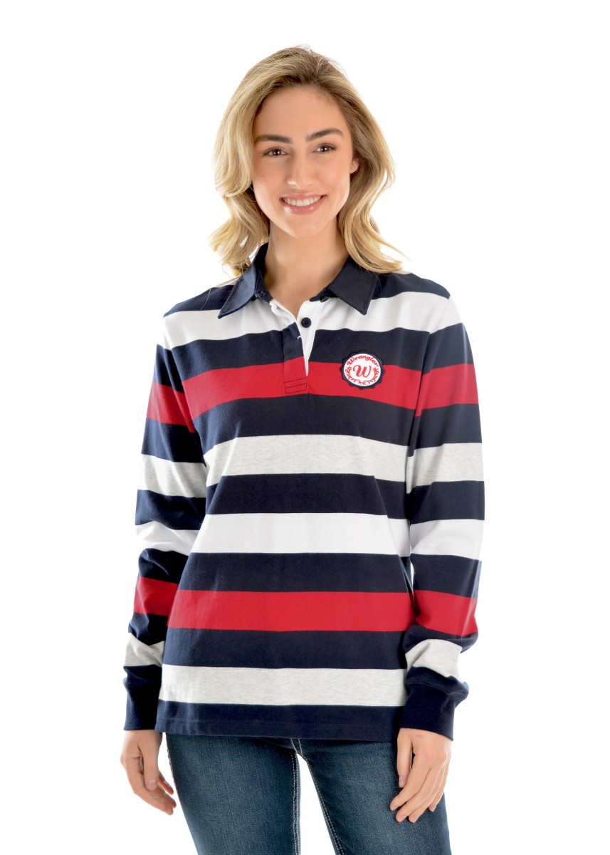 WOMENS MANDY STRIPE L/S RUGBY