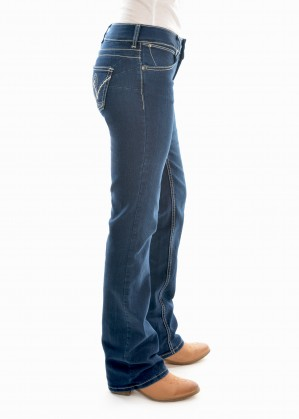 WOMENS MID RISE JEAN 34 LEG