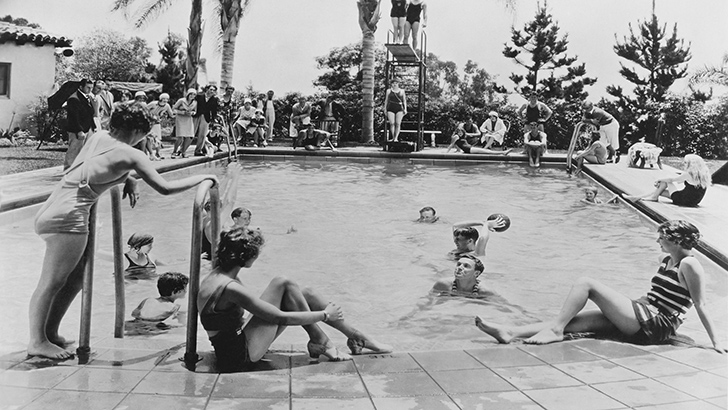Zodiac's history - black and white photo of pool from the past