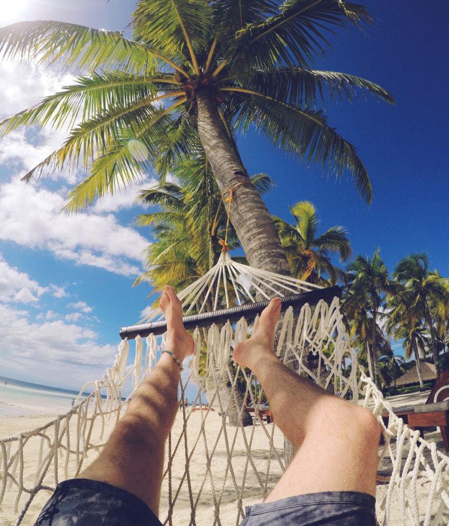 Chilling on a hammock at Bohol Beach Club