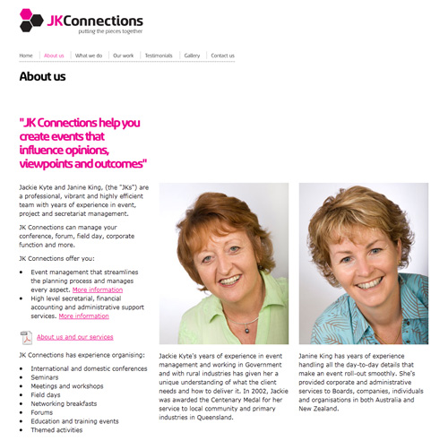 JK Connections website